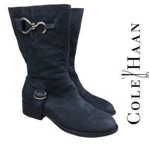 COLE HAAN Leather Suede Moto Boots